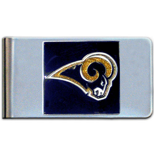 St. Louis Rams Large NFL Money Clip - Put your team spirit where your money is with this large metal money clip. Hand painted 3D emblem in team colors. Check out our entire line of  gifts!    Officially licensed NFL product Licensee: Siskiyou Buckle .com