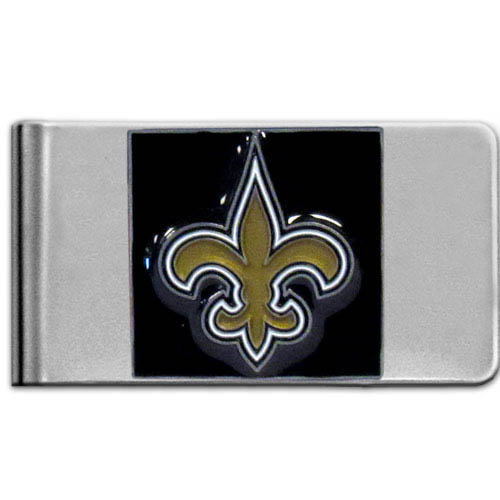 New Orleans Saints Large NFL Money Clip - Put your team spirit where your money is with this large metal money clip. Hand painted 3D emblem in team colors. Check out our entire line of  gifts!    Officially licensed NFL product Licensee: Siskiyou Buckle Thank you for visiting CrazedOutSports.com