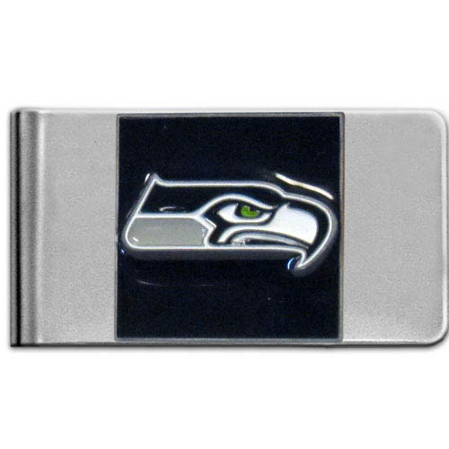 Seattle Seahawks Large NFL Money Clip - Put your team spirit where your money is with this large metal money clip. Hand painted 3D emblem in team colors. Check out our entire line of  gifts!    Officially licensed NFL product Licensee: Siskiyou Buckle .com