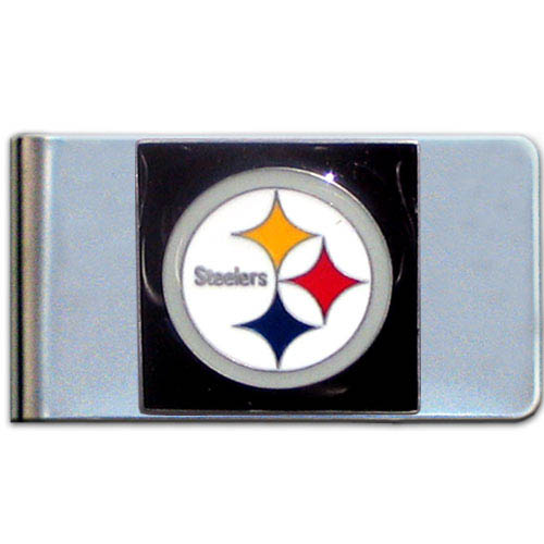 Pittsburgh Steelers Large NFL Money Clip - Put your team spirit where your money is with this large metal money clip. Hand painted 3D emblem in team colors. Check out our entire line of  gifts!    Officially licensed NFL product Licensee: Siskiyou Buckle .com