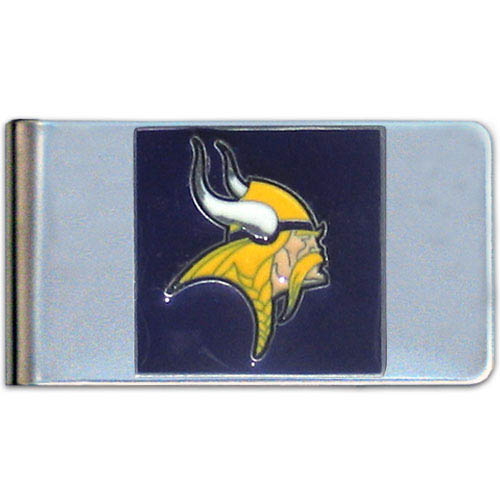 Minnesota Vikings Large NFL Money Clip - Put your team spirit where your money is with this large metal money clip. Hand painted 3D emblem in team colors. Check out our entire line of  gifts!    Officially licensed NFL product Licensee: Siskiyou Buckle .com