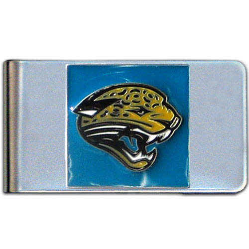 Jacksonville Jaguars Large NFL Money Clip - Put your team spirit where your money is with this large metal money clip. Hand painted 3D emblem in team colors.  Check out our entire line of  gifts!   Officially licensed NFL product Licensee: Siskiyou Buckle Thank you for visiting CrazedOutSports.com