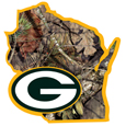 Green Bay Packers State Decal w/Mossy Oak Camo