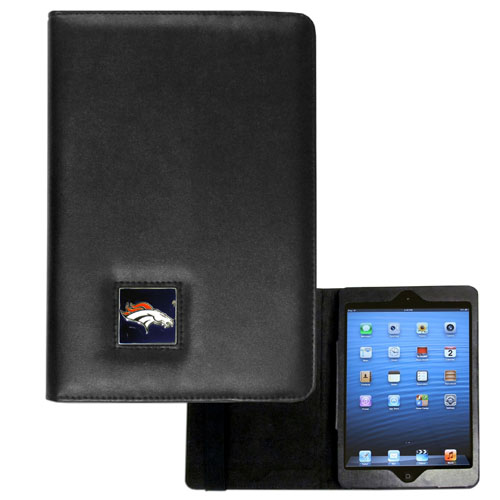 Denver Broncos NFL iPad Mini Case - The perfect Denver Broncos iPad mini accessory. The iPad mini slides easily into the inner sleeve that allows complete accessibility to all of the devices features and is the protected by the attractive out cover that can be secured closed or open while working with a simple stretch band. The great case features a cast and enameled NFL Denver Broncos emblem. Officially licensed NFL product Licensee: Siskiyou Buckle Thank you for visiting CrazedOutSports.com