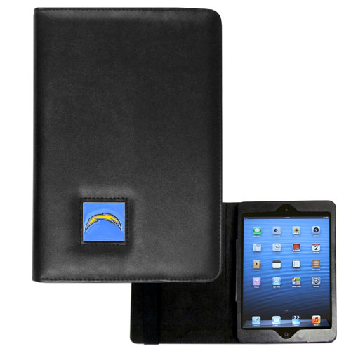 San Diego Chargers NFL iPad Mini Case - The perfect San Diego Chargers iPad mini accessory. The iPad mini slides easily into the inner sleeve that allows complete accessibility to all of the devices features and is the protected by the attractive out cover that can be secured closed or open while working with a simple stretch band. The great case features a cast and enameled NFL San Diego Chargers emblem. Officially licensed NFL product Licensee: Siskiyou Buckle .com