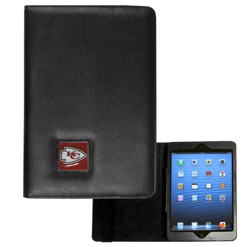 Kansas City Chiefs NFL iPad Mini Case - The perfect Kansas City Chiefs iPad mini accessory. The iPad mini slides easily into the inner sleeve that allows complete accessibility to all of the devices features and is the protected by the attractive out cover that can be secured closed or open while working with a simple stretch band. The great case features a cast and enameled NFL Kansas City Chiefs emblem. Officially licensed NFL product Licensee: Siskiyou Buckle Thank you for visiting CrazedOutSports.com