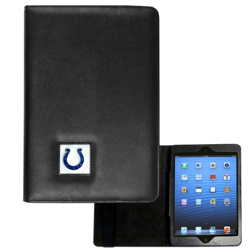 Indianapolis Colts NFL iPad Mini Case - The perfect Indianapolis Colts iPad mini accessory. The iPad mini slides easily into the inner sleeve that allows complete accessibility to all of the devices features and is the protected by the attractive out cover that can be secured closed or open while working with a simple stretch band. The great case features a cast and enameled NFL Indianapolis Colts emblem. Officially licensed NFL product Licensee: Siskiyou Buckle Thank you for visiting CrazedOutSports.com
