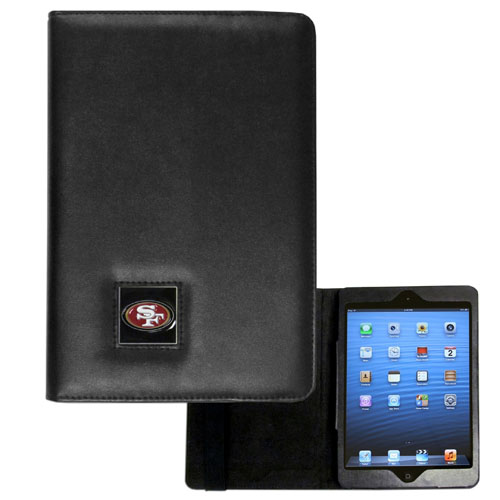 San Francisco 49ers NFL iPad Mini Case - The perfect San Francisco 49ers iPad mini accessory. The iPad mini slides easily into the inner sleeve that allows complete accessibility to all of the devices features and is the protected by the attractive out cover that can be secured closed or open while working with a simple stretch band. The great case features a cast and enameled NFL San Francisco 49ers emblem. Officially licensed NFL product Licensee: Siskiyou Buckle .com