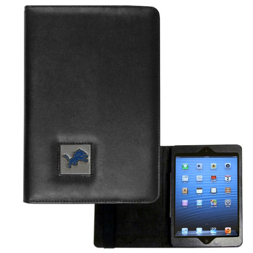 Detroit Lions NFL iPad Mini Case - The perfect Detroit Lions iPad mini accessory. The iPad mini slides easily into the inner sleeve that allows complete accessibility to all of the devices features and is the protected by the attractive out cover that can be secured closed or open while working with a simple stretch band. The great case features a cast and enameled NFL Detroit Lions emblem. Officially licensed NFL product Licensee: Siskiyou Buckle .com