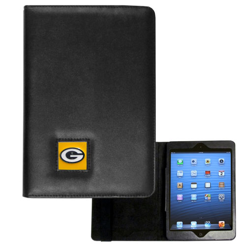 Green Bay Packers NFL iPad Mini Case - The perfect Green Bay Packers iPad mini accessory. The iPad mini slides easily into the inner sleeve that allows complete accessibility to all of the devices features and is the protected by the attractive out cover that can be secured closed or open while working with a simple stretch band. The great case features a cast and enameled NFL Green Bay Packers emblem. Officially licensed NFL product Licensee: Siskiyou Buckle .com