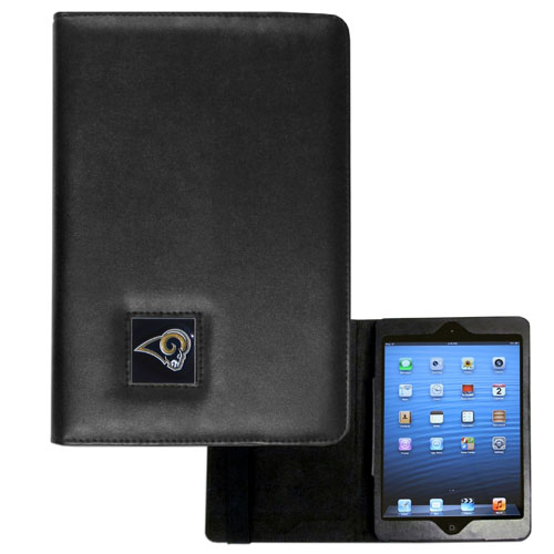 Los Angeles Rams NFL iPad Mini Case - The perfect Los Angeles Rams iPad mini accessory. The iPad mini slides easily into the inner sleeve that allows complete accessibility to all of the devices features and is the protected by the attractive out cover that can be secured closed or open while working with a simple stretch band. The great case features a cast and enameled NFL Los Angeles Rams emblem. Officially licensed NFL product Licensee: Siskiyou Buckle .com