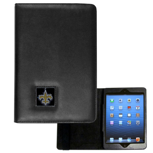 New Orleans Saints iPad Mini Case - The perfect New Orleans Saints iPad mini accessory. The iPad mini slides easily into the inner sleeve that allows complete accessibility to all of the devices features and is the protected by the attractive out cover that can be secured closed or open while working with a simple stretch band. The great case features a cast and enameled NFL New Orleans Saints emblem. Officially licensed NFL product Licensee: Siskiyou Buckle .com