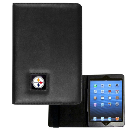Pittsburgh Steelers NFL iPad Mini Case - The perfect Pittsburgh Steelers iPad mini accessory. The iPad mini slides easily into the inner sleeve that allows complete accessibility to all of the devices features and is the protected by the attractive out cover that can be secured closed or open while working with a simple stretch band. The great case features a cast and enameled NFL Pittsburgh Steelers emblem. Officially licensed NFL product Licensee: Siskiyou Buckle .com