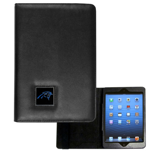 Carolina Panthers NFL iPad Mini Case - The perfect Carolina Panthers iPad mini accessory. The iPad mini slides easily into the inner sleeve that allows complete accessibility to all of the devices features and is the protected by the attractive out cover that can be secured closed or open while working with a simple stretch band. The great case features a cast and enameled NFL Carolina Panthers emblem. Officially licensed NFL product Licensee: Siskiyou Buckle Thank you for visiting CrazedOutSports.com