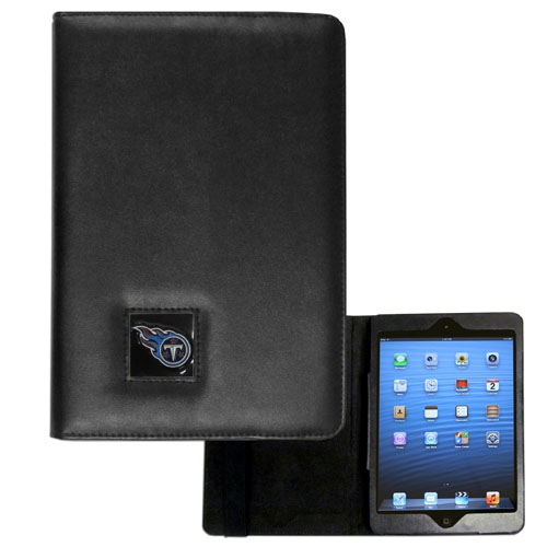 Tennessee Titans iPad Mini Case - The perfect Tennessee Titans iPad mini accessory. The iPad mini slides easily into the inner sleeve that allows complete accessibility to all of the devices features and is the protected by the attractive out cover that can be secured closed or open while working with a simple stretch band. The great case features a cast and enameled NFL Tennessee Titans emblem. Officially licensed NFL product Licensee: Siskiyou Buckle .com