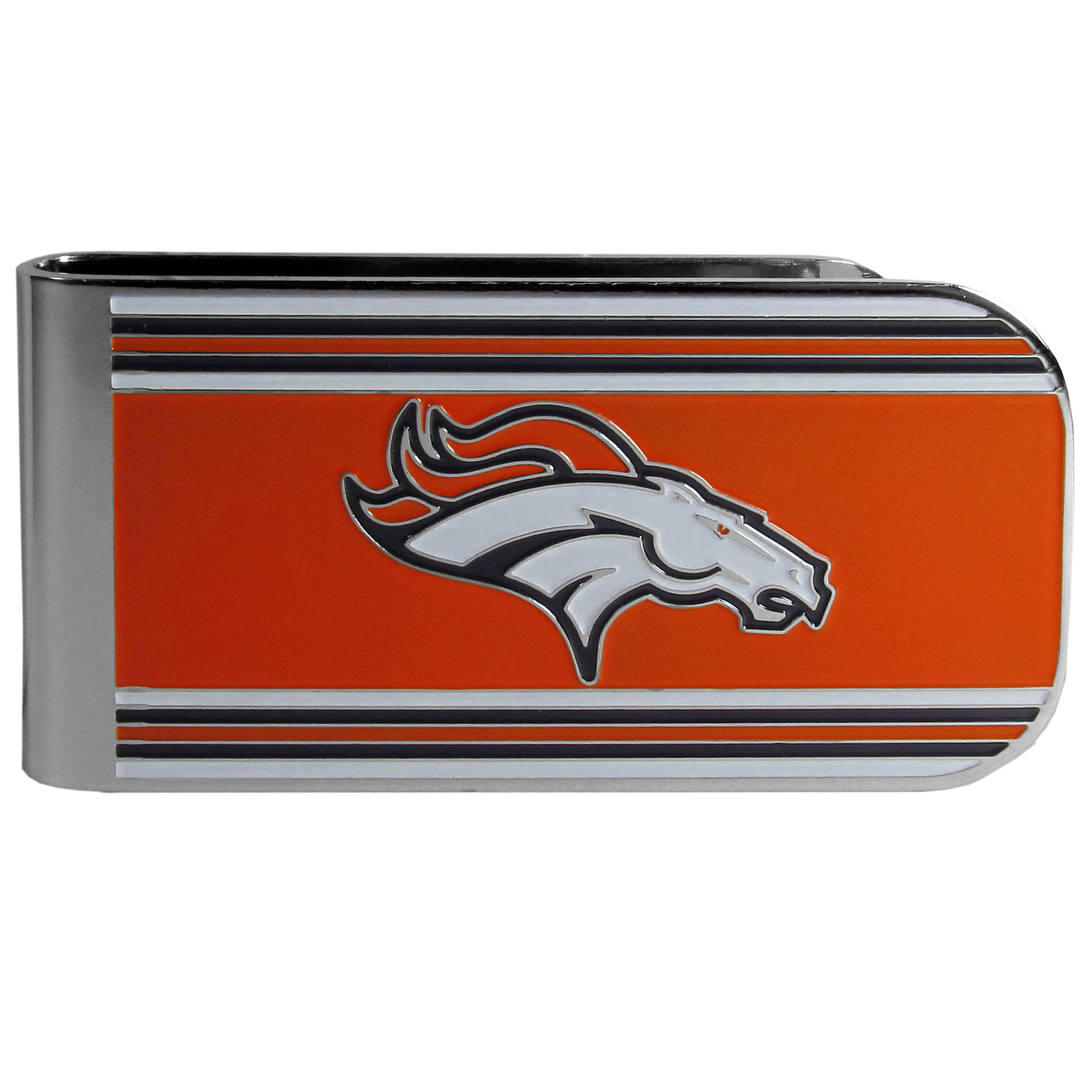 Denver Broncos MVP Money Clip - Our MVP money clip is made of high quality steel with a chrome overlay and enameled team colors and logo. The exceptional craftmanship on this piece makes it a men's fashion accessory that any fan would be proud to own. The cast detail in the Denver Broncos logo is perfectly detailed. The clip features an inner spring to hold your cash and cards securely in place.