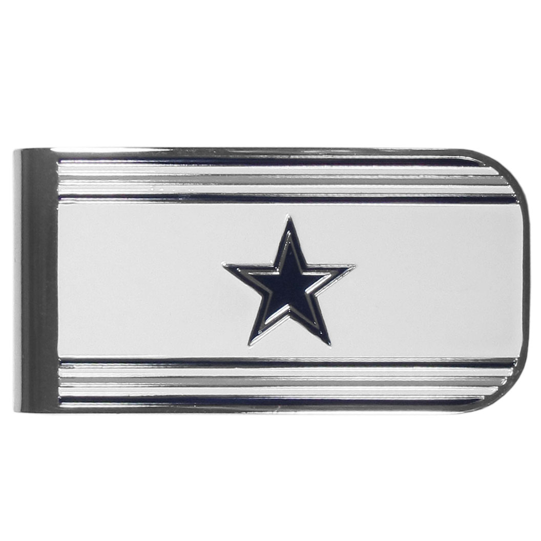 Dallas Cowboys MVP Money Clip - Our MVP money clip is made of high quality steel with a chrome overlay and enameled team colors and logo. The exceptional craftmanship on this piece makes it a men's fashion accessory that any fan would be proud to own. The cast detail in the Dallas Cowboys logo is perfectly detailed. The clip features an inner spring to hold your cash and cards securely in place.