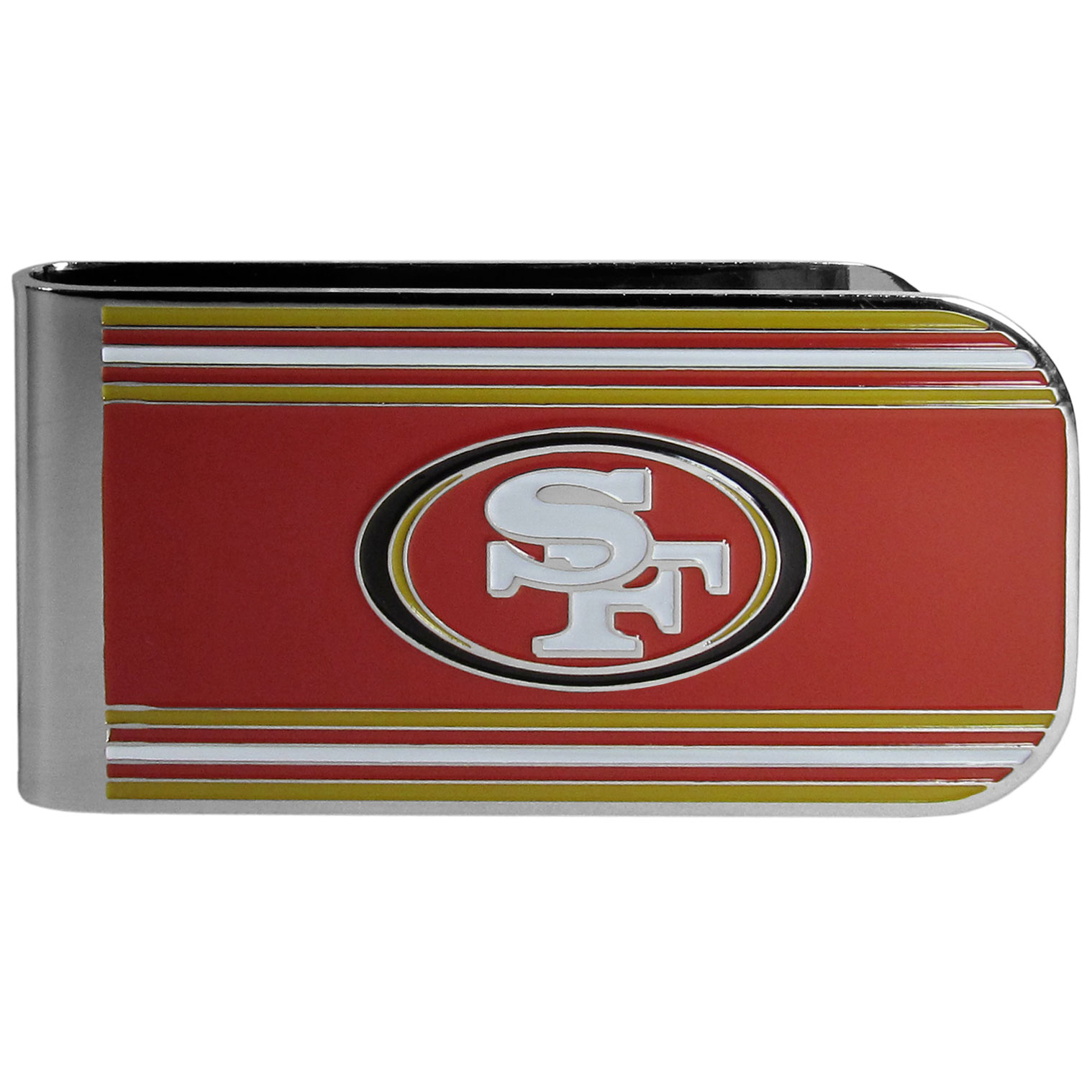 San Francisco 49ers MVP Money Clip - Our MVP money clip is made of high quality steel with a chrome overlay and enameled team colors and logo. The exceptional craftmanship on this piece makes it a men's fashion accessory that any fan would be proud to own. The cast detail in the San Francisco 49ers logo is perfectly detailed. The clip features an inner spring to hold your cash and cards securely in place.