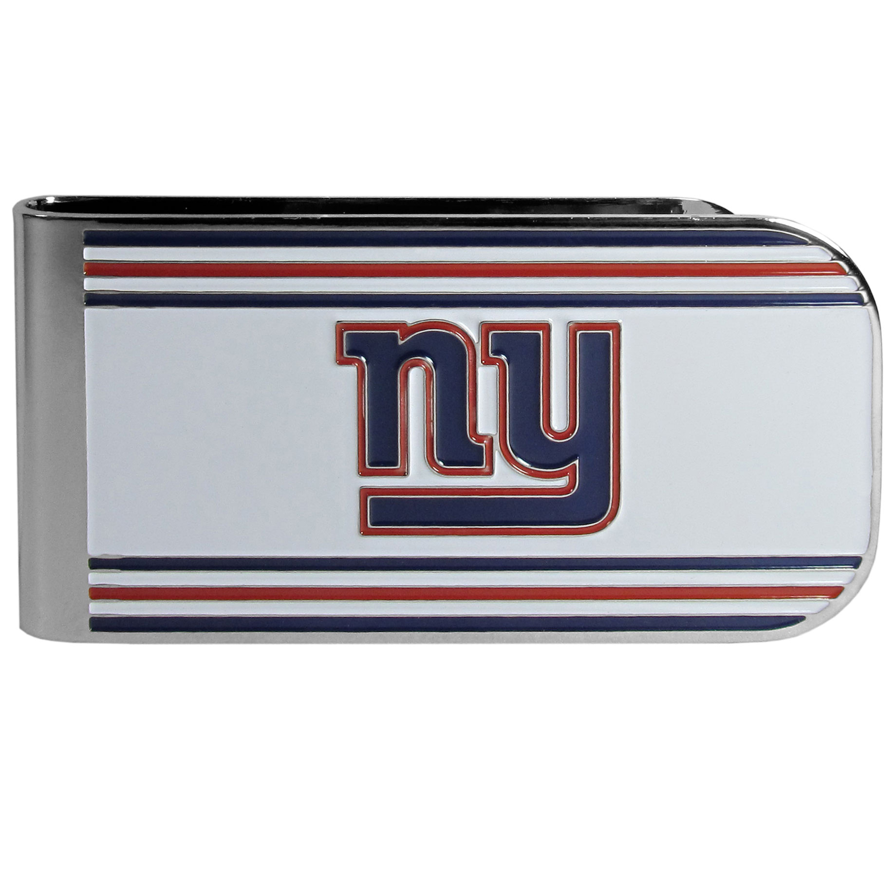 New York Giants MVP Money Clip - Our MVP money clip is made of high quality steel with a chrome overlay and enameled team colors and logo. The exceptional craftmanship on this piece makes it a men's fashion accessory that any fan would be proud to own. The cast detail in the New York Giants logo is perfectly detailed. The clip features an inner spring to hold your cash and cards securely in place.