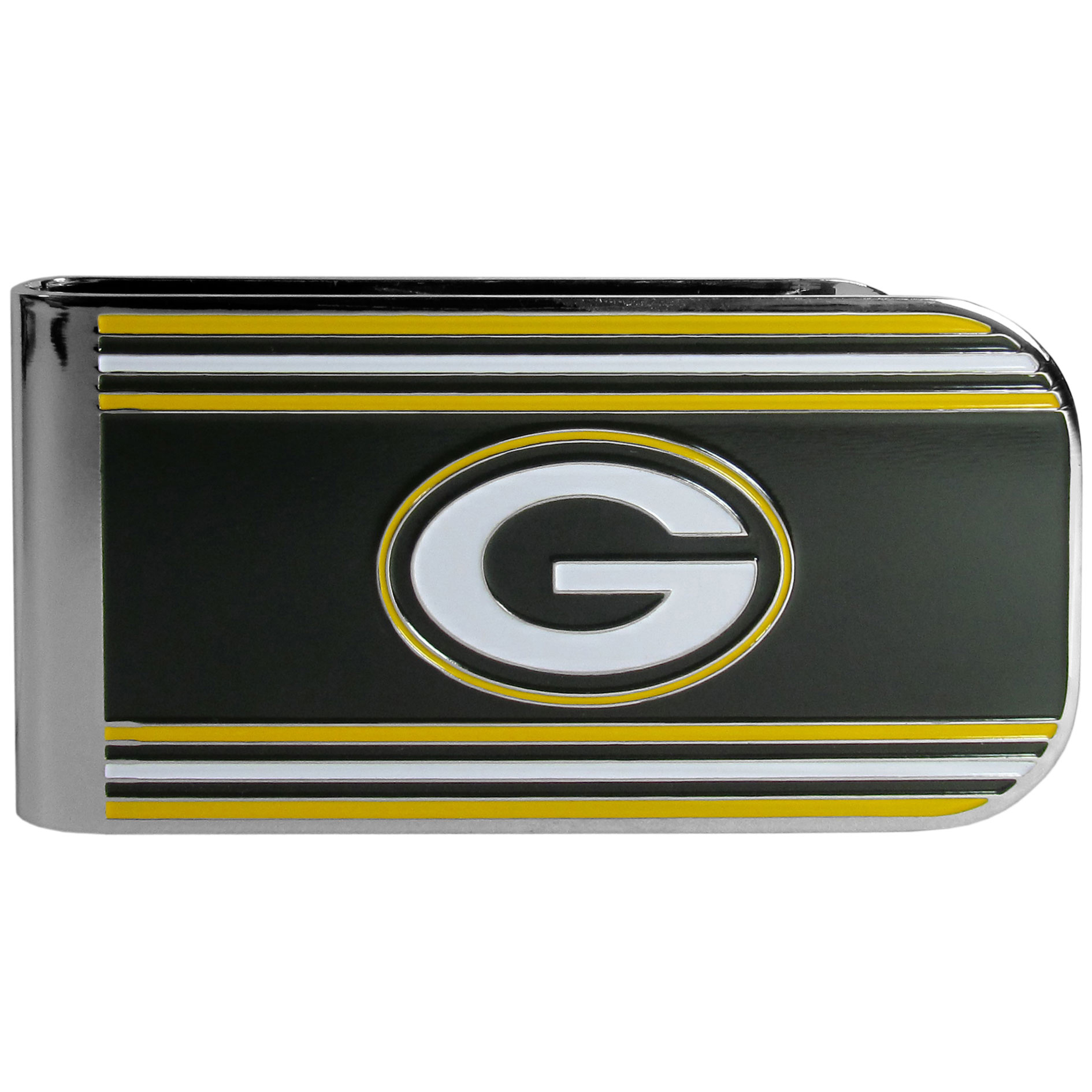 Green Bay Packers MVP Money Clip - Our MVP money clip is made of high quality steel with a chrome overlay and enameled team colors and logo. The exceptional craftmanship on this piece makes it a men's fashion accessory that any fan would be proud to own. The cast detail in the Green Bay Packers logo is perfectly detailed. The clip features an inner spring to hold your cash and cards securely in place.
