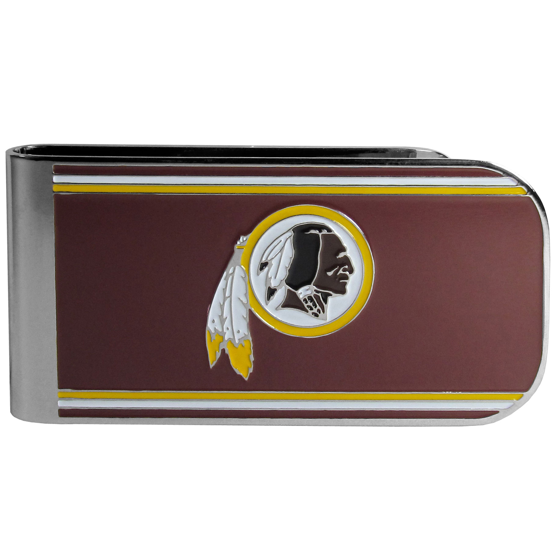 Washington Redskins MVP Money Clip - Our MVP money clip is made of high quality steel with a chrome overlay and enameled team colors and logo. The exceptional craftmanship on this piece makes it a men's fashion accessory that any fan would be proud to own. The cast detail in the Washington Redskins logo is perfectly detailed. The clip features an inner spring to hold your cash and cards securely in place.