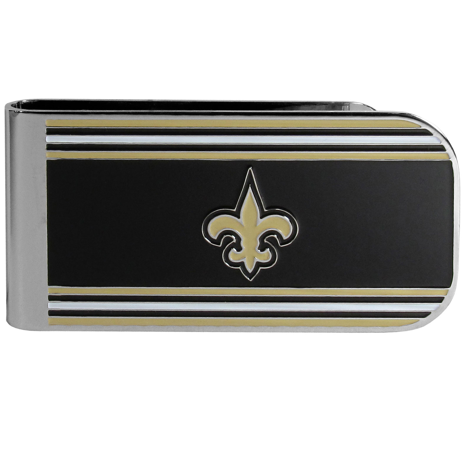 New Orleans Saints MVP Money Clip - Our MVP money clip is made of high quality steel with a chrome overlay and enameled team colors and logo. The exceptional craftmanship on this piece makes it a men's fashion accessory that any fan would be proud to own. The cast detail in the New Orleans Saints logo is perfectly detailed. The clip features an inner spring to hold your cash and cards securely in place.