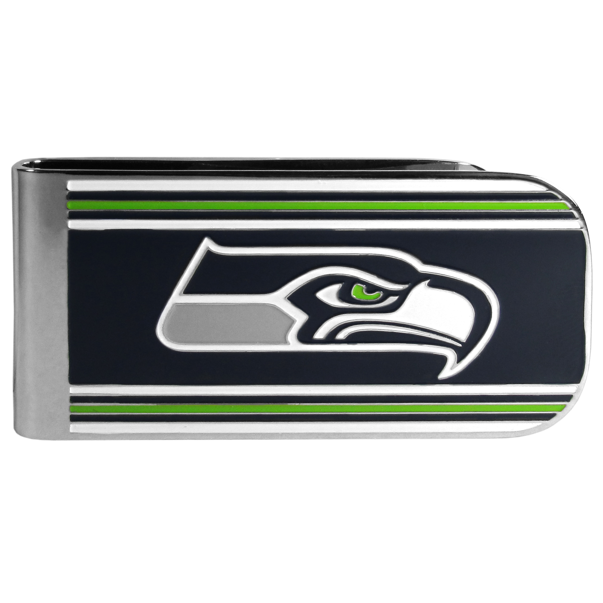 Seattle Seahawks MVP Money Clip - Our MVP money clip is made of high quality steel with a chrome overlay and enameled team colors and logo. The exceptional craftmanship on this piece makes it a men's fashion accessory that any fan would be proud to own. The cast detail in the Seattle Seahawks logo is perfectly detailed. The clip features an inner spring to hold your cash and cards securely in place.