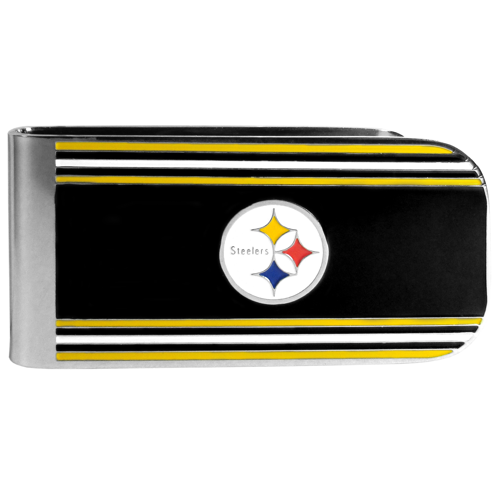 Pittsburgh Steelers MVP Money Clip - Our MVP money clip is made of high quality steel with a chrome overlay and enameled team colors and logo. The exceptional craftmanship on this piece makes it a men's fashion accessory that any fan would be proud to own. The cast detail in the Pittsburgh Steelers logo is perfectly detailed. The clip features an inner spring to hold your cash and cards securely in place.