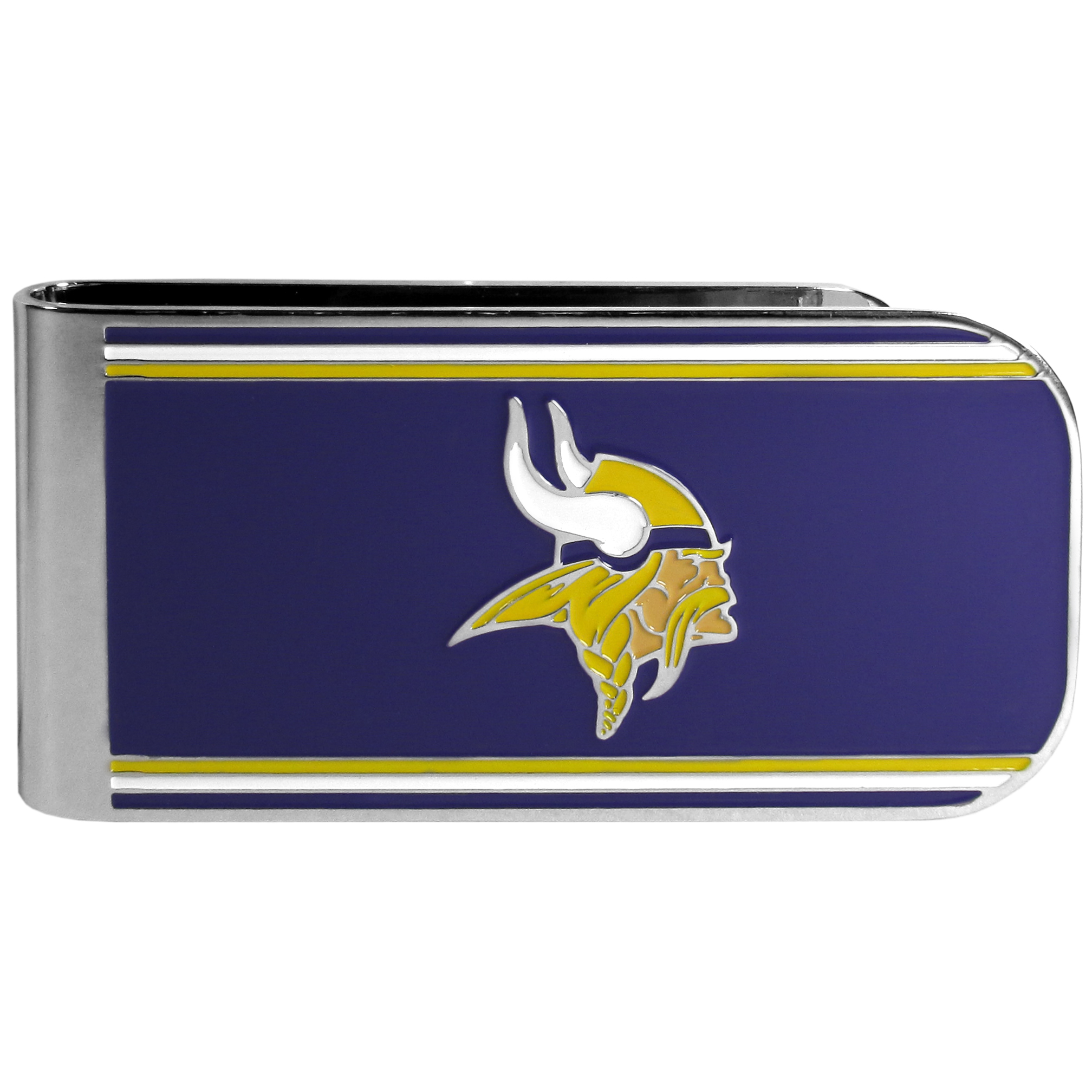 Minnesota Vikings MVP Money Clip - Our MVP money clip is made of high quality steel with a chrome overlay and enameled team colors and logo. The exceptional craftmanship on this piece makes it a men's fashion accessory that any fan would be proud to own. The cast detail in the Minnesota Vikings logo is perfectly detailed. The clip features an inner spring to hold your cash and cards securely in place.