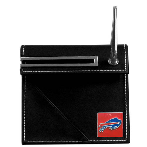 Buffalo Bills Desk Set - Our classic Buffalo Bills desk set features a slot for a note pad, a slot for your business cards and comes with a stylish pen. The set shows off your school pride with a hand enameled Buffalo Bills team emblem. Officially licensed NFL product Licensee: Siskiyou Buckle .com