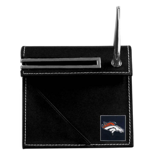 Denver Broncos Desk Set - Our classic Denver Broncos desk set features a slot for a note pad, a slot for your business cards and comes with a stylish pen. The set shows off your school pride with a hand enameled Denver Broncos team emblem. Officially licensed NFL product Licensee: Siskiyou Buckle Thank you for visiting CrazedOutSports.com