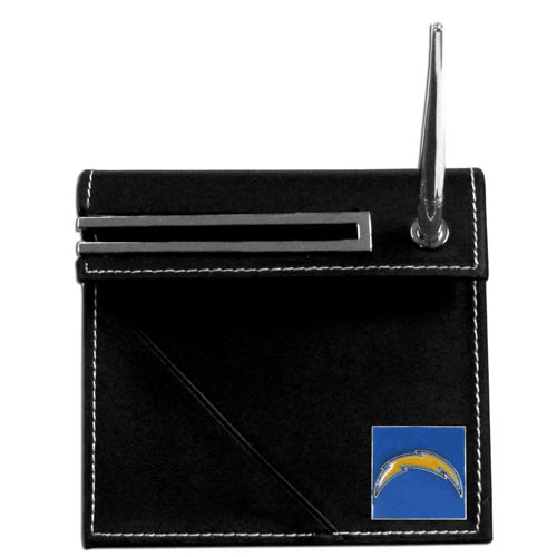 Los Angeles Chargers Desk Set - Our classic Los Angeles Chargers desk set features a slot for a note pad, a slot for your business cards and comes with a stylish pen. The set shows off your school pride with a hand enameled Los Angeles Chargers emblem. Officially licensed NFL product Licensee: Siskiyou Buckle .com