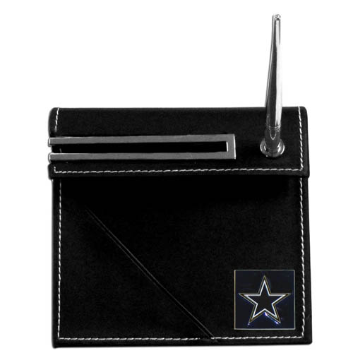 Dallas Cowboys Desk Set - Our classic Dallas Cowboys desk set features a slot for a note pad, a slot for your business cards and comes with a stylish pen. The set shows off your school pride with a hand enameled Dallas Cowboys team emblem. Officially licensed NFL product Licensee: Siskiyou Buckle Thank you for visiting CrazedOutSports.com
