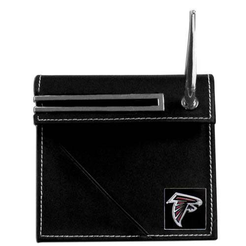 Atlanta Falcons Desk Set - Our classic Atlanta Falcons desk set features a slot for a note pad, a slot for your business cards and comes with a stylish pen. The set shows off your school pride with a hand enameled Atlanta Falcons team emblem. Officially licensed NFL product Licensee: Siskiyou Buckle .com