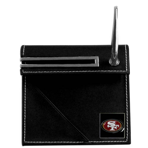 San Francisco 49ers Desk Set - Our classic San Francisco 49ers desk set features a slot for a note pad, a slot for your business cards and comes with a stylish pen. The set shows off your school pride with a hand enameled San Francisco 49ers team emblem. Officially licensed NFL product Licensee: Siskiyou Buckle .com