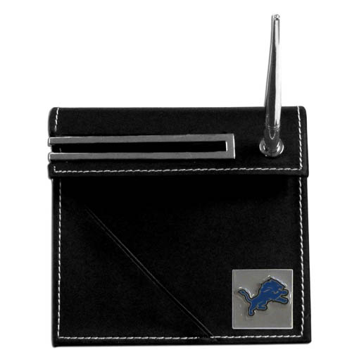 Detroit Lions Desk Set - Our classic Detroit Lions desk set features a slot for a note pad, a slot for your business cards and comes with a stylish pen. The set shows off your school pride with a hand enameled Detroit Lions team emblem. Officially licensed NFL product Licensee: Siskiyou Buckle .com