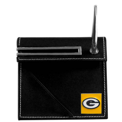 Green Bay Packers Desk Set - Our classic Green Bay Packers desk set features a slot for a note pad, a slot for your business cards and comes with a stylish pen. The set shows off your school pride with a hand enameled Green Bay Packers team emblem. Officially licensed NFL product Licensee: Siskiyou Buckle .com