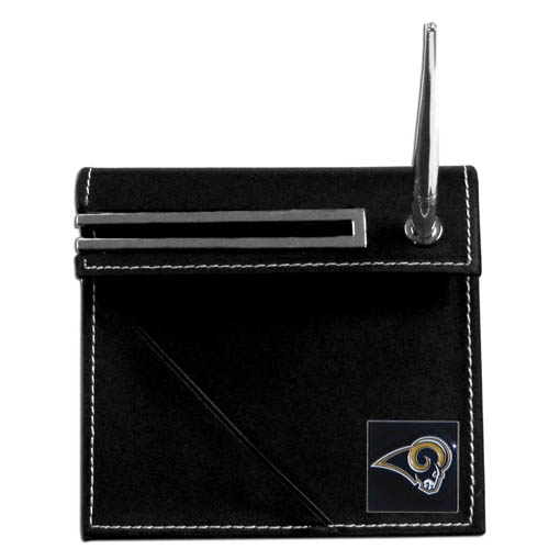 Los Angeles Rams Desk Set - Our classic St. Louis Rams desk set features a slot for a note pad, a slot for your business cards and comes with a stylish pen. The set shows off your school pride with a hand enameled Los Angeles Rams team emblem. Officially licensed NFL product Licensee: Siskiyou Buckle .com