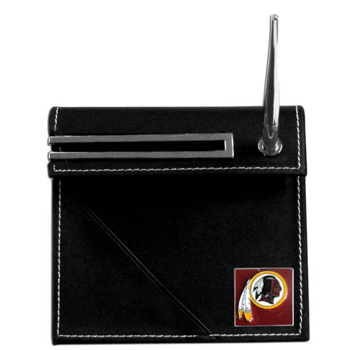 Washington Redskins Desk Set - Our classic Washington Redskins desk set features a slot for a note pad, a slot for your business cards and comes with a stylish pen. The set shows off your school pride with a hand enameled Washington Redskins team emblem. Officially licensed NFL product Licensee: Siskiyou Buckle Thank you for visiting CrazedOutSports.com