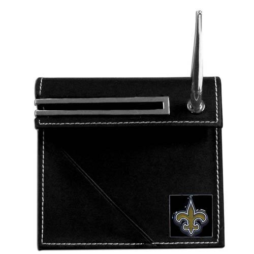Saints Desk Set - Our classic New Orleans Saints desk set features a slot for a note pad, a slot for your business cards and comes with a stylish pen. The set shows off your school pride with a hand enameled team emblem. Officially licensed NFL product Licensee: Siskiyou Buckle .com