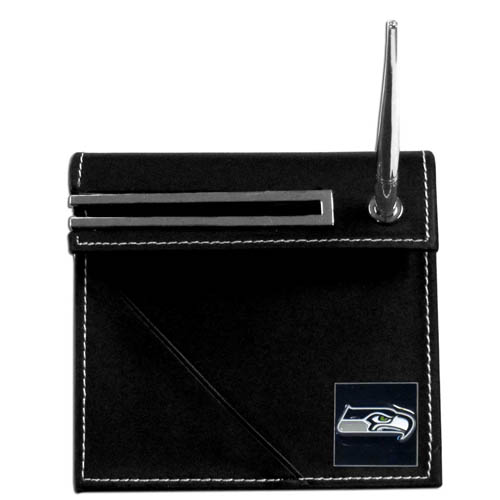 Seahawks Desk Set - Our classic Seattle Seahawks desk set features a slot for a note pad, a slot for your business cards and comes with a stylish pen. The set shows off your school pride with a hand enameled team emblem. Officially licensed NFL product Licensee: Siskiyou Buckle .com