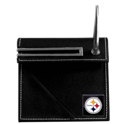 Steelers Desk Set - Our classic Pittsburgh Steelers desk set features a slot for a note pad, a slot for your business cards and comes with a stylish pen. The set shows off your school pride with a hand enameled team emblem. Officially licensed NFL product Licensee: Siskiyou Buckle .com