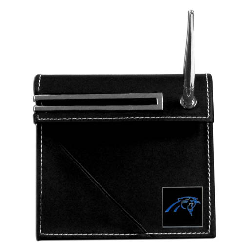 Panthers Desk Set - Our classic Carolina Panthers desk set features a slot for a note pad, a slot for your business cards and comes with a stylish pen. The set shows off your school pride with a hand enameled team emblem. Officially licensed NFL product Licensee: Siskiyou Buckle Thank you for visiting CrazedOutSports.com