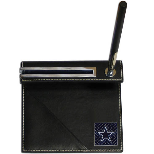 Dallas Cowboys Gridiron Desk Set - Our officially licensend NFL Dallas Cowboys gridiron desk set features a slot for a note pad, a slot for your business cards and comes with a stylish pen. The set shows off your Dallas Cowboys pride with a hand enameled gridiron Dallas Cowboys emblem. Officially licensed NFL product Licensee: Siskiyou Buckle .com