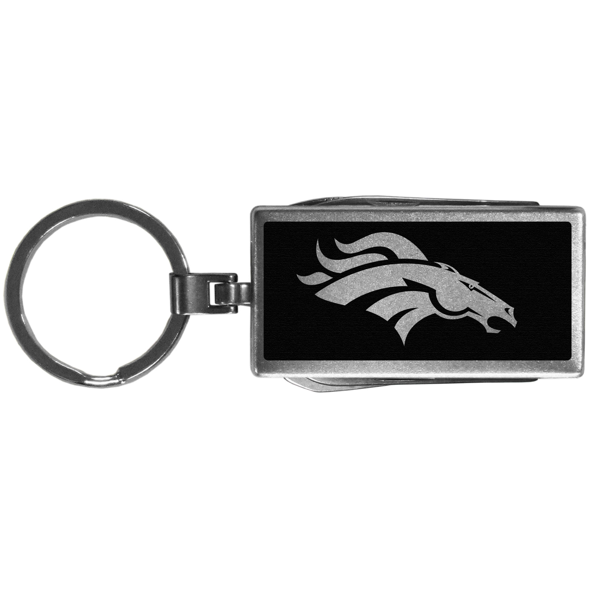 Denver Broncos Multi-tool Key Chain, Black - Be the hero at the tailgate, camping, or on a Friday night with your Denver Broncos Multi-Tool Keychain which comes complete with bottle opener, scissors, knife, nail file and screw driver. Be it opening a package or a beverage Siskiyou's Multi-Tool Keychain goes wherever your keys do. The keychain hangs at 4 inches long when closed.