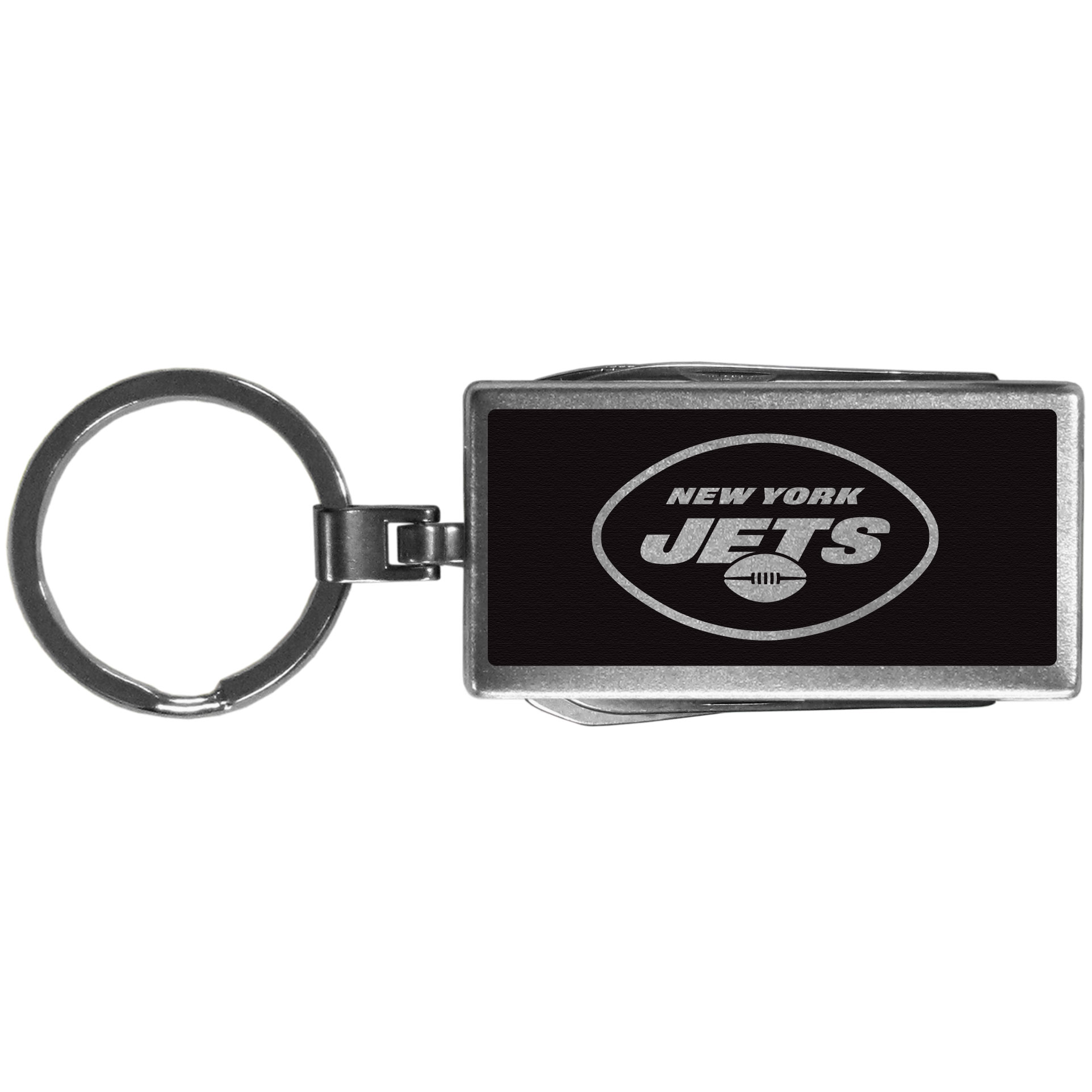 New York Jets Multi-tool Key Chain, Black - Be the hero at the tailgate, camping, or on a Friday night with your New York Jets Multi-Tool Keychain which comes complete with bottle opener, scissors, knife, nail file and screw driver. Be it opening a package or a beverage Siskiyou's Multi-Tool Keychain goes wherever your keys do. The keychain hangs at 4 inches long when closed.