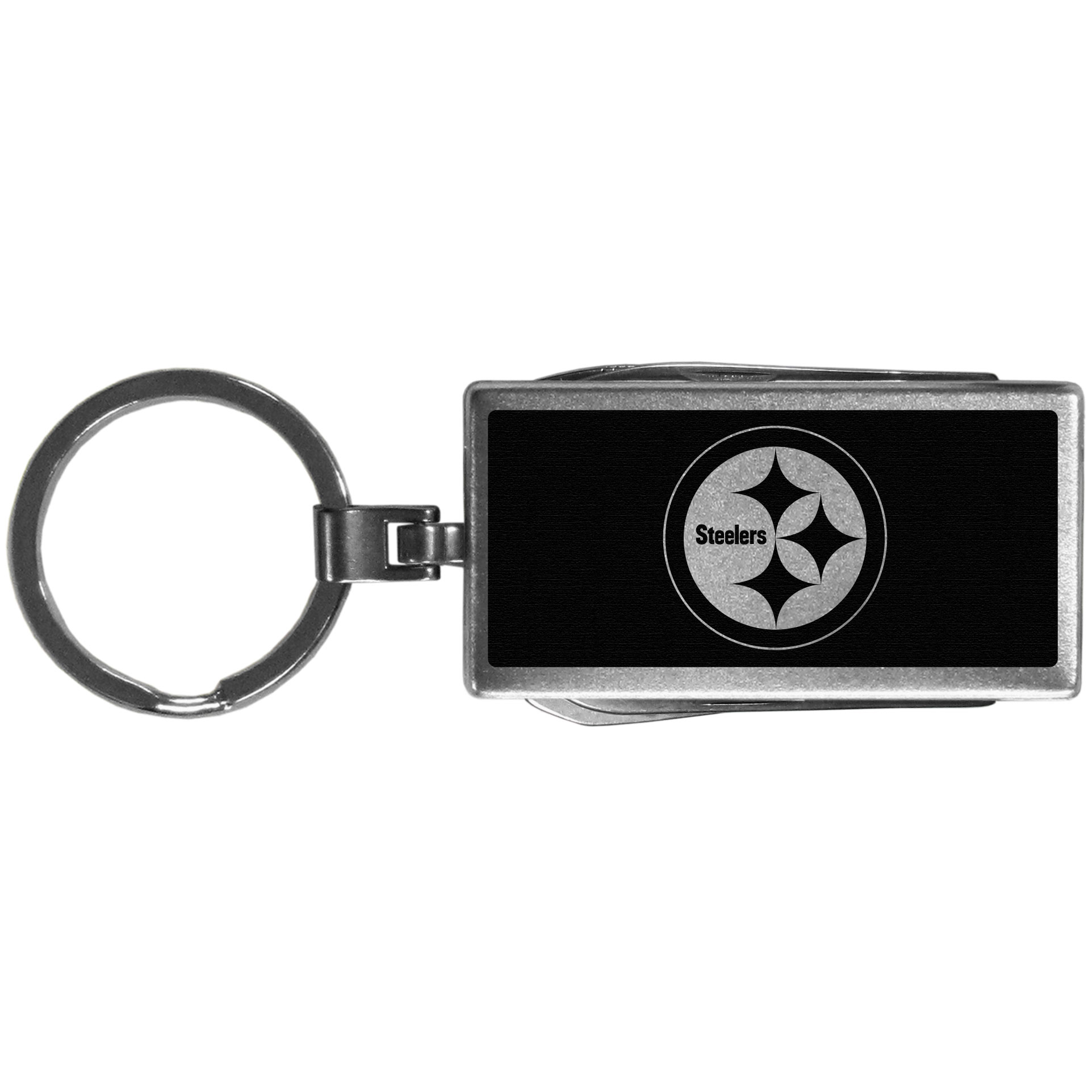 Pittsburgh Steelers Multi-tool Key Chain, Black - Be the hero at the tailgate, camping, or on a Friday night with your Pittsburgh Steelers Multi-Tool Keychain which comes complete with bottle opener, scissors, knife, nail file and screw driver. Be it opening a package or a beverage Siskiyou's Multi-Tool Keychain goes wherever your keys do. The keychain hangs at 4 inches long when closed.