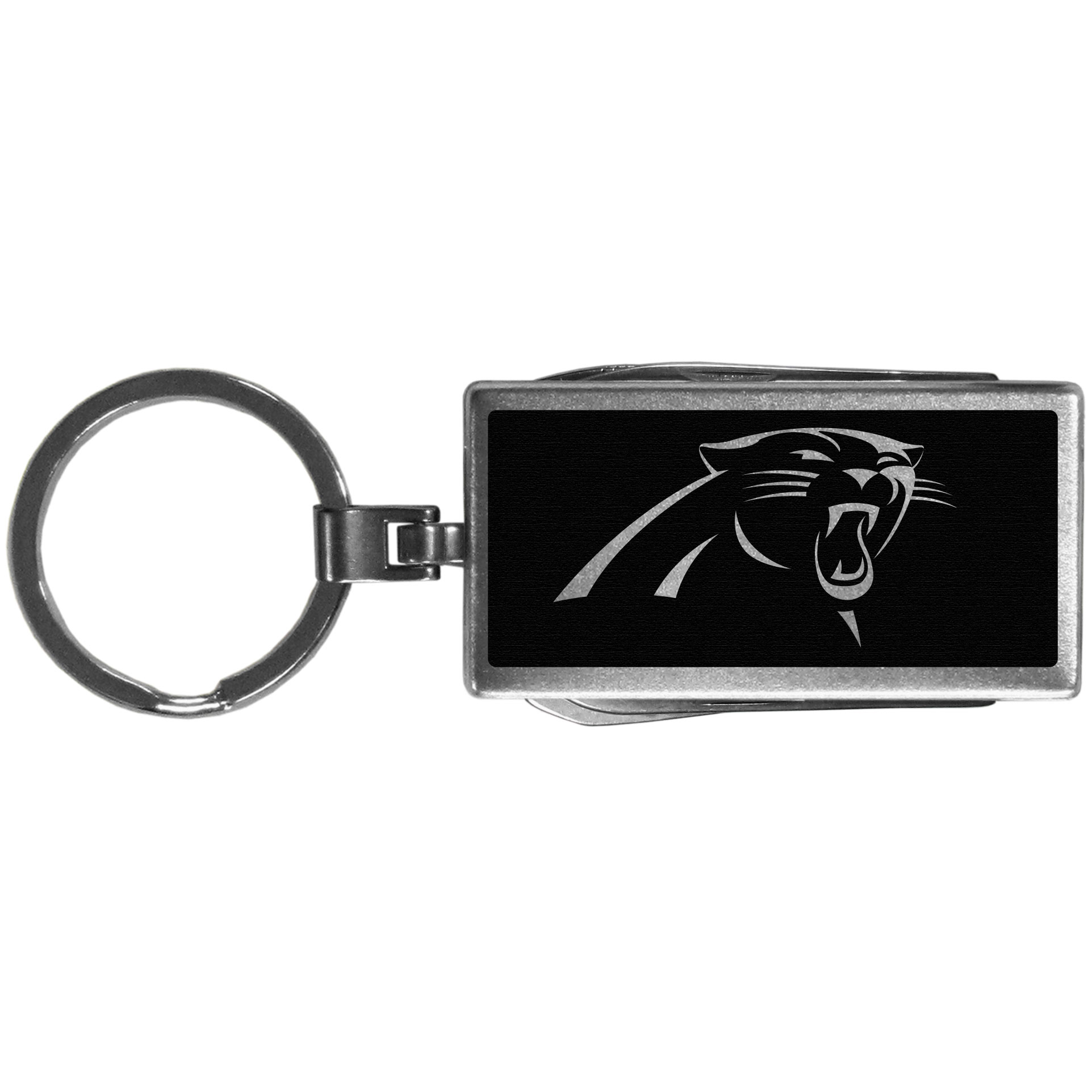 Carolina Panthers Multi-tool Key Chain, Black - Be the hero at the tailgate, camping, or on a Friday night with your Carolina Panthers Multi-Tool Keychain which comes complete with bottle opener, scissors, knife, nail file and screw driver. Be it opening a package or a beverage Siskiyou's Multi-Tool Keychain goes wherever your keys do. The keychain hangs at 4 inches long when closed.