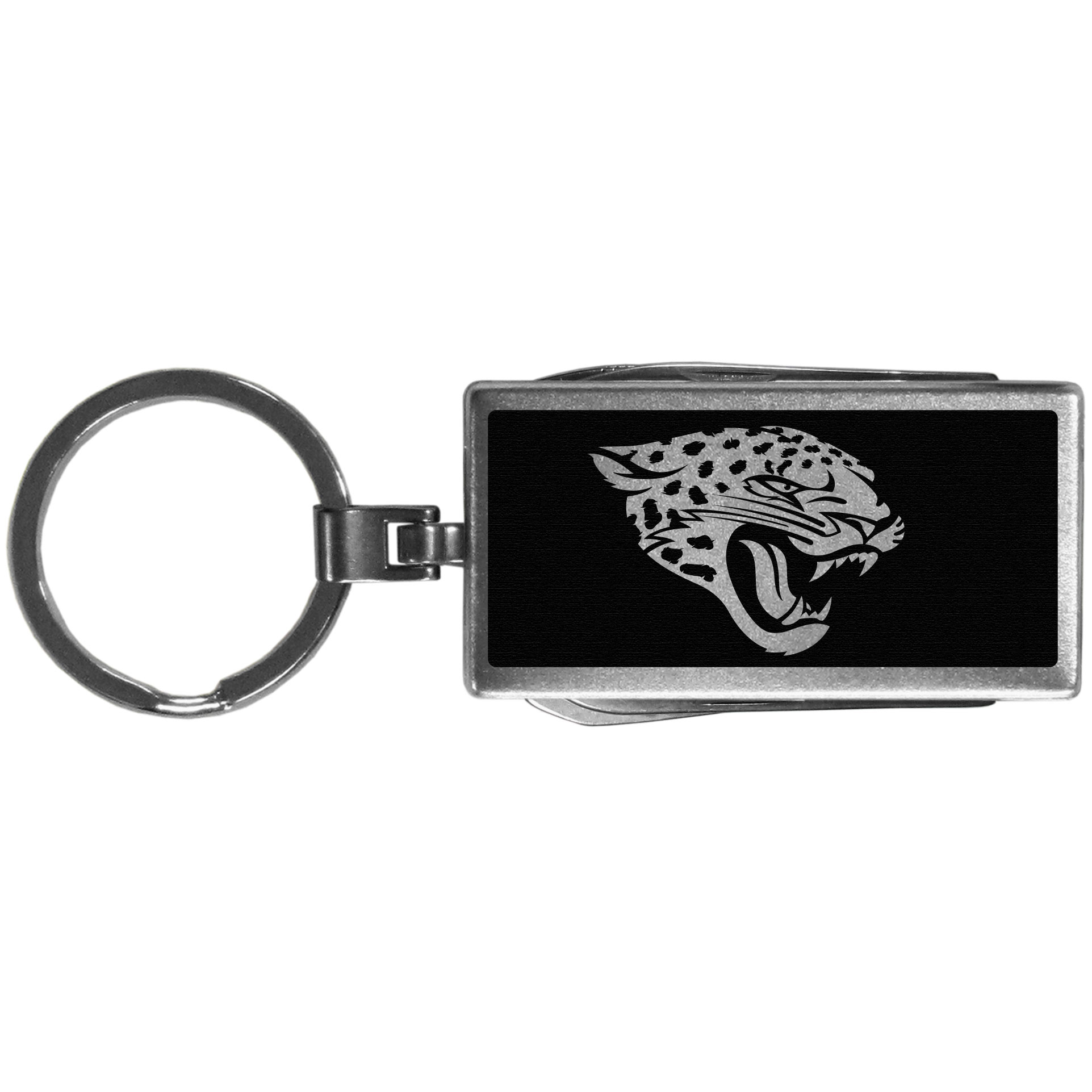 Jacksonville Jaguars Multi-tool Key Chain, Black - Be the hero at the tailgate, camping, or on a Friday night with your Jacksonville Jaguars Multi-Tool Keychain which comes complete with bottle opener, scissors, knife, nail file and screw driver. Be it opening a package or a beverage Siskiyou's Multi-Tool Keychain goes wherever your keys do. The keychain hangs at 4 inches long when closed.