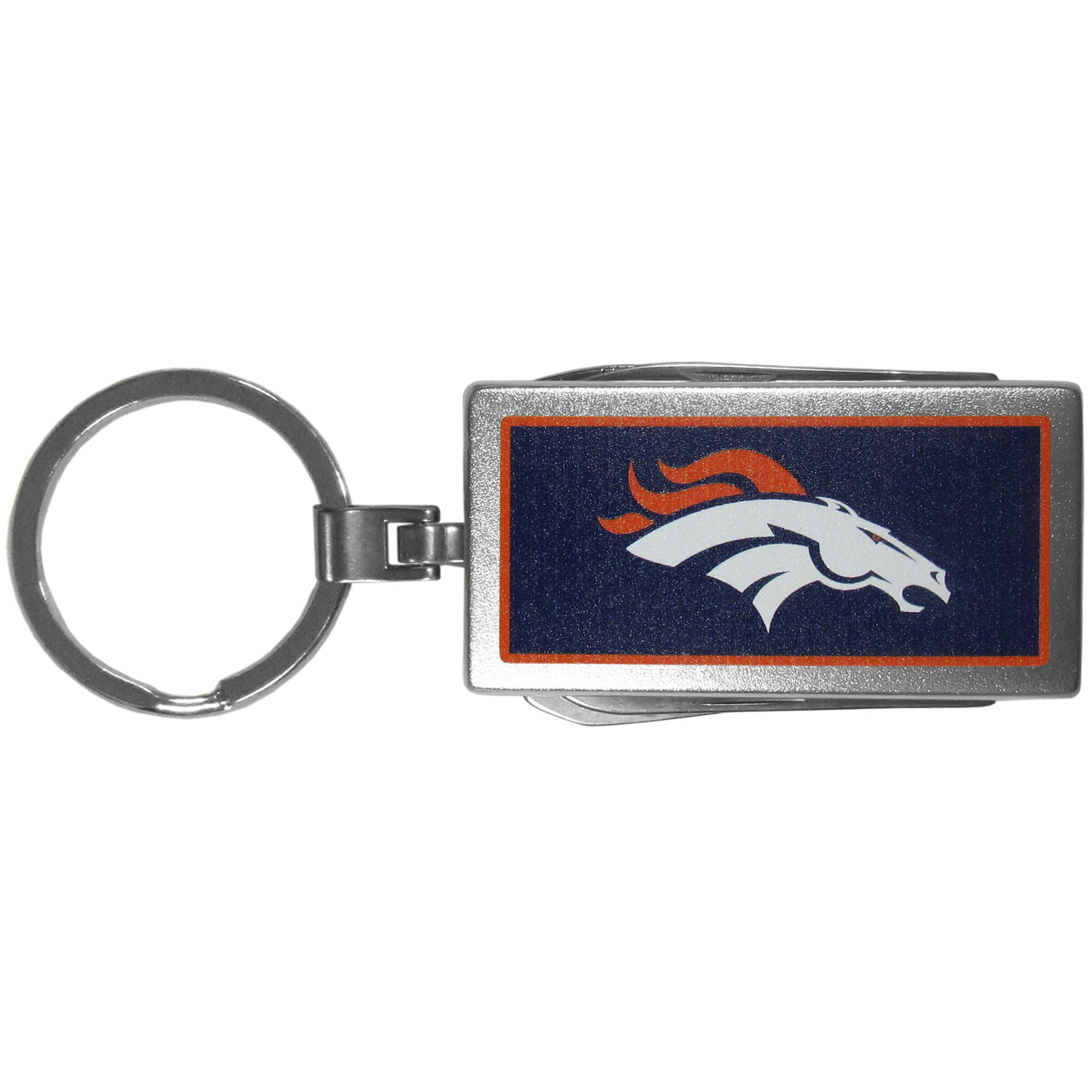 Denver Broncos Multi-tool Key Chain, Logo - Be the hero at the tailgate, camping, or on a Friday night with your Denver Broncos Multi-Tool Keychain which comes complete with bottle opener, scissors, knife, nail file and screw driver. Be it opening a package or a beverage Siskiyou's Multi-Tool Keychain goes wherever your keys do. The keychain hangs at 4 inches long when closed.